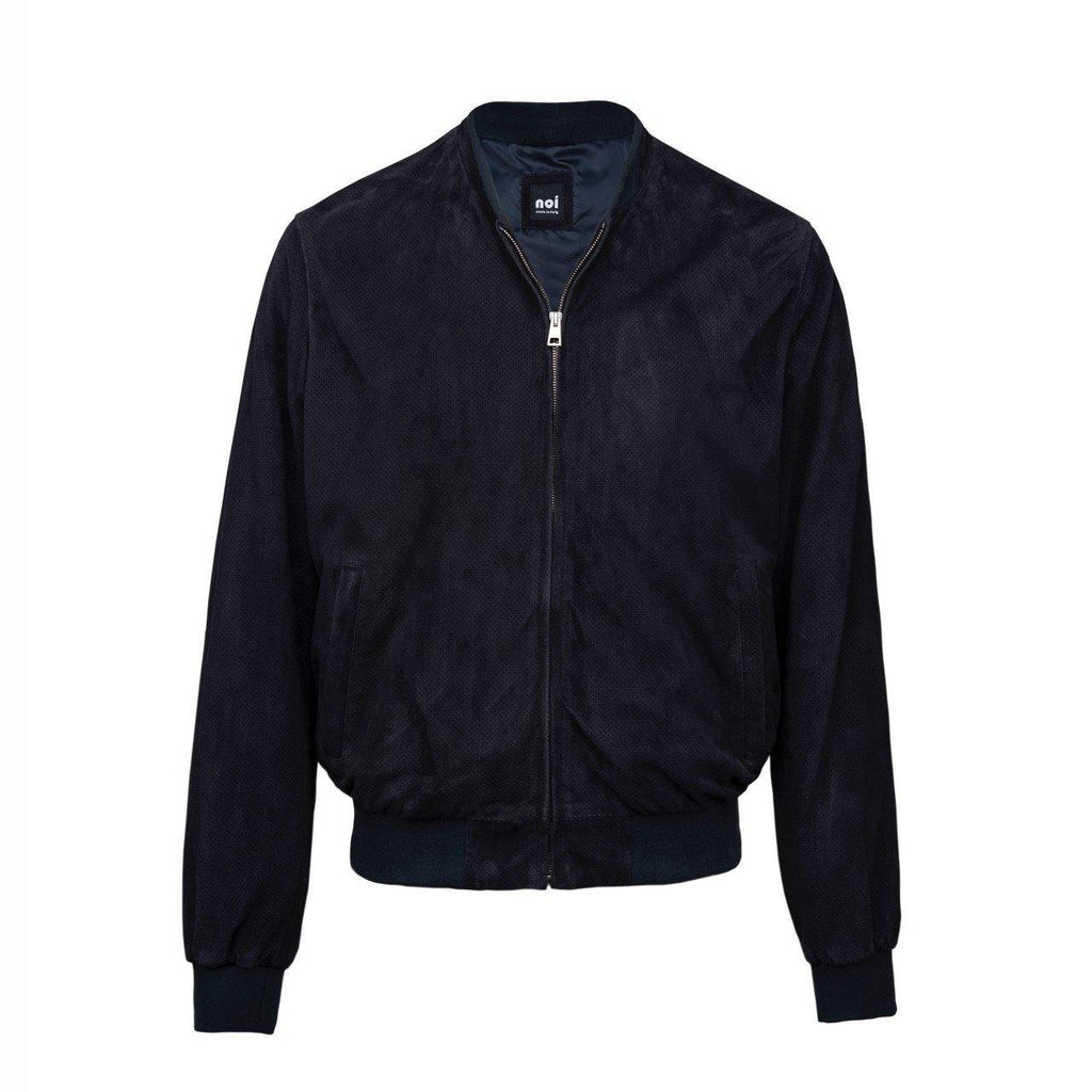 Suede Perforated Jacket In Dark Navy Blue - Noi Collection London