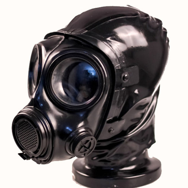(FMJ08)Top quality full head Latex Rubber Gas Mask Hood with Zipper and Pipette inside conquer gas mask breathing control