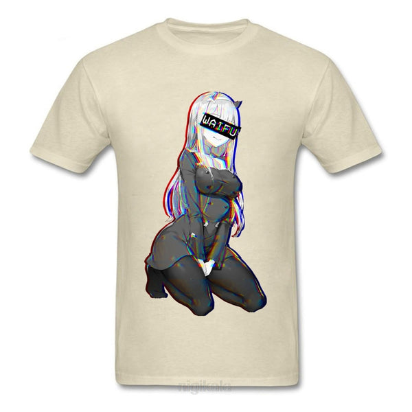 Zero Two Waifu Ahegao Tshirt Vaporwave Neon Sexy Pin Up Girl Reggae Men T Shirt My Hero Academia Xmas Happy New Year