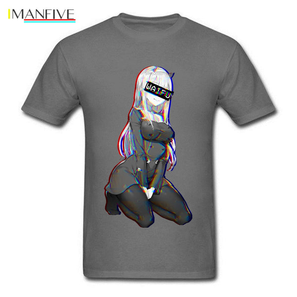 Zero Two Waifu Ahegao Tshirt Boogie Vaporwave Neon DARLING FRANXX Sexy Pin Up Anime Reggae Dance Men T Shirt Manga