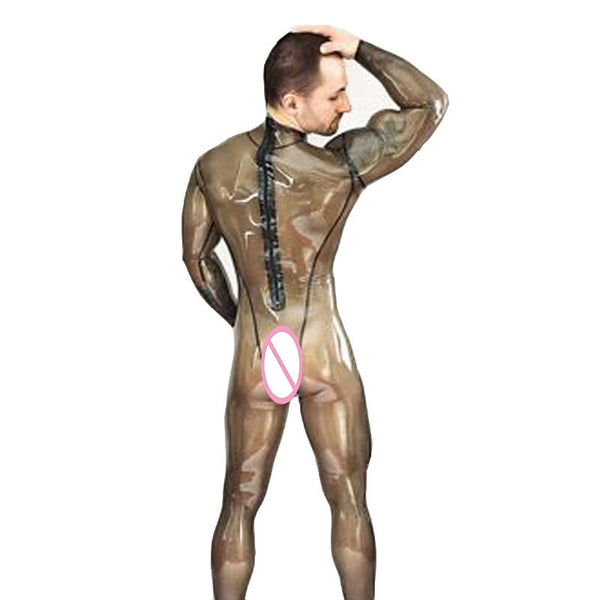 MONNIK latex Sexy Latex Catsuit Transparent Black Rubber Bodysuits Men Clubwear Customize