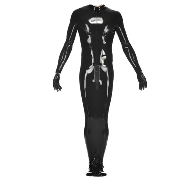 Latex Natural Rubber Cosplay Black Costume Back Zipper Male Catsuit Gummi Solid Black Customized Size XXS-XXL