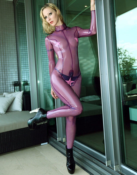 MONNIK latex Transparent Purple Latex Women Catsuit Rubber Clubwear Bodysuit Sexy Costumes