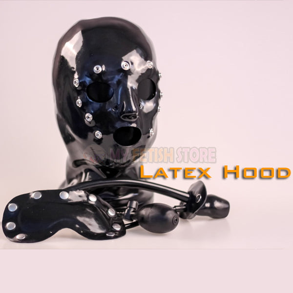 (FMJ012)Latex rubber hood with gag and mask kit bondage fetish banding accessory equipment latex fetish wear