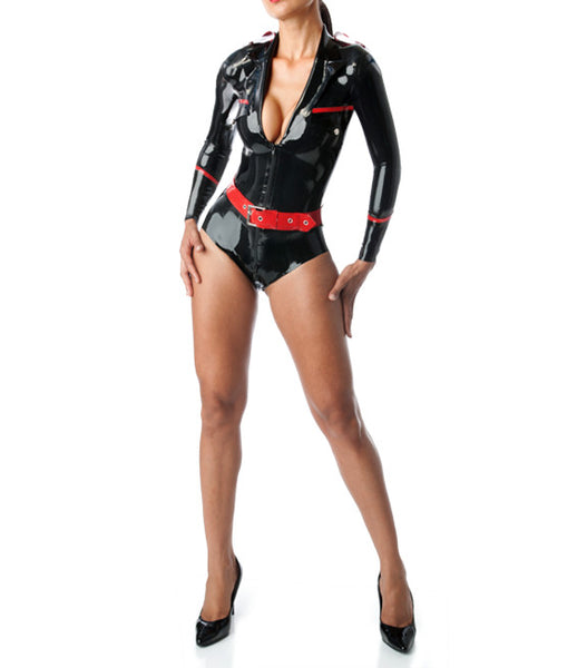 Latex Military Leotard Latex Rubber Uniform Suit Bodysuit With Belt For Girl