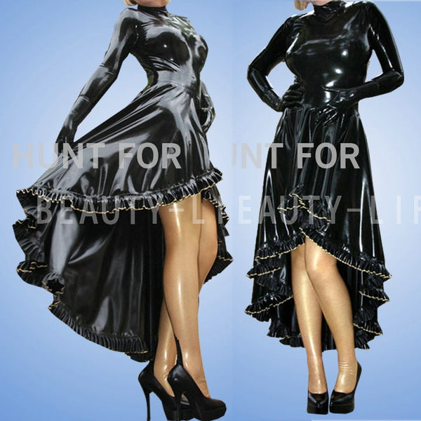 Latex party dress 100% natural  long sleeve w ruffle miti layer hemline