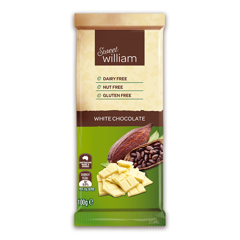 Sweet William White Dairy Free Chocolate - Go Vita Batemans Bay