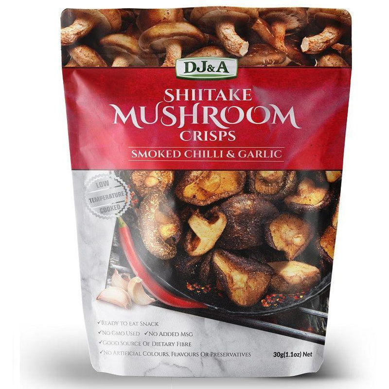 DJ&A Shiitake Mushroom Crisps – Smoked Garlic & Chilli Flavour - Go Vita Batemans Bay