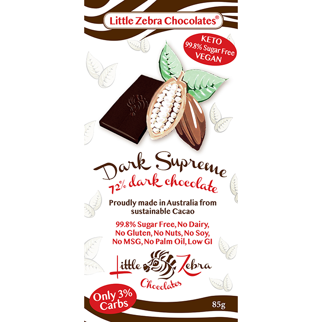 Little Zebra Sugar Free Dark Supreme Chocolate - 70% Cocoa - Go Vita Batemans Bay