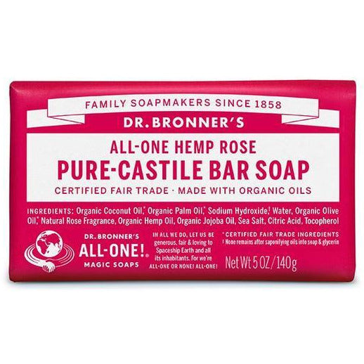 Dr Bronners Castile Bar Soap - Rose - Go Vita Batemans Bay