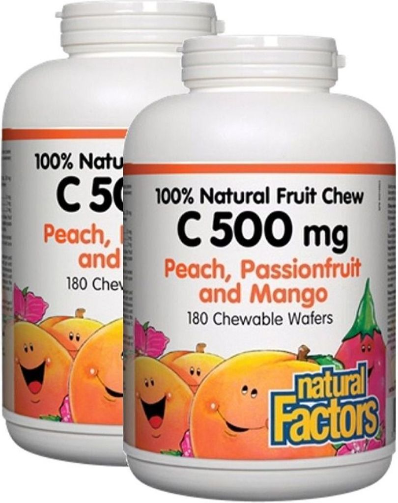 NATURAL FACTORS Vitamin C Peach (500 mg - 180 chews) 2-Pack