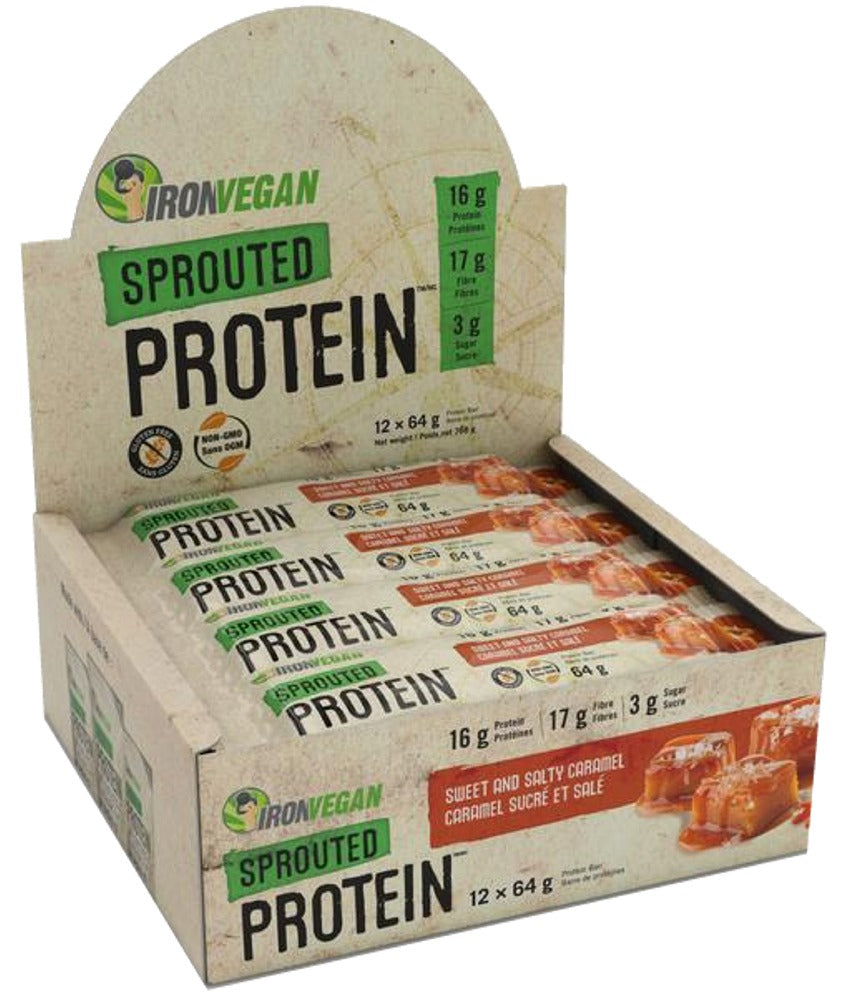 IRON VEGAN Sprouted Protein Bar Sweet & Salty Caramel 64g 12/BOX