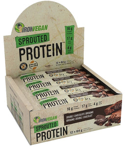 IRON VEGAN Sprouted Protein Bar Peanut Chocolate Chip 64g 12/BOX