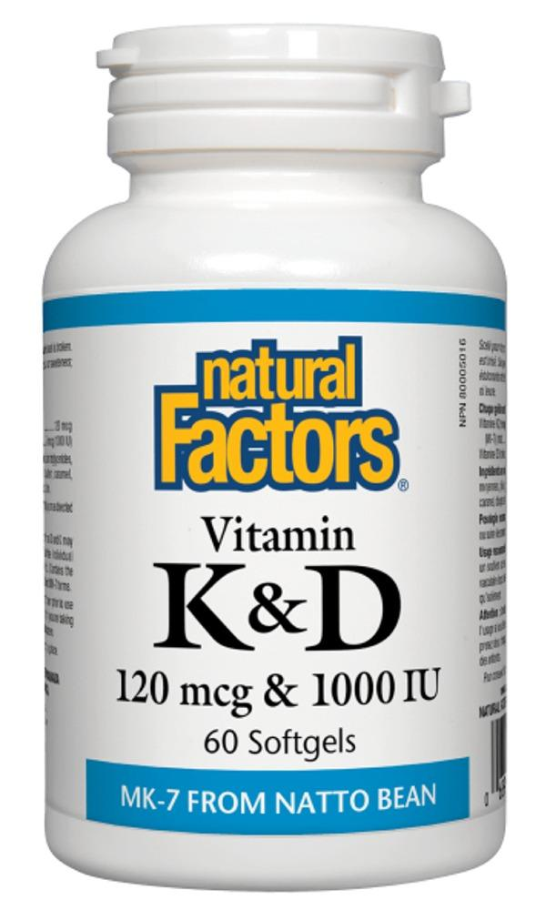 NATURAL FACTORS Vitamin K & D (120 mcg + 1000 IU - 60 sgels)