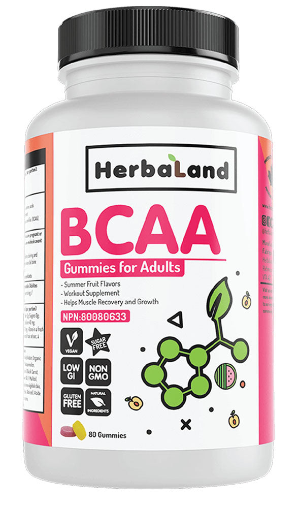 HERBALAND BCAA Gummies for Adults (Summer Fruit - 80 Gummies)