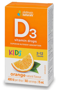 PLATINUM Vitamin D3 Drops for Kids (Orange - 400 iu - 15 ml )