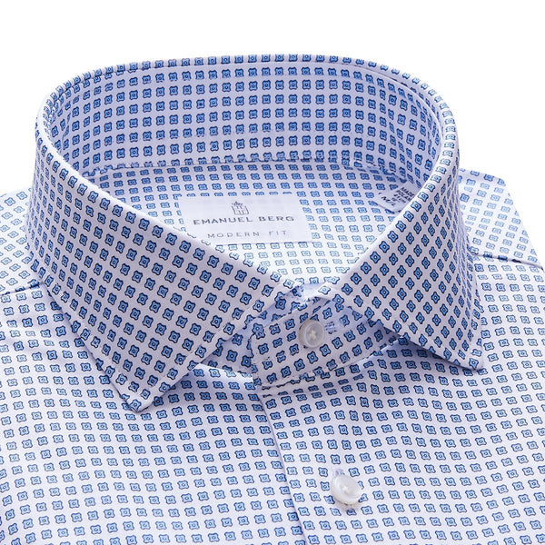 White 4Flex Shirt With Blue Floral Pattern