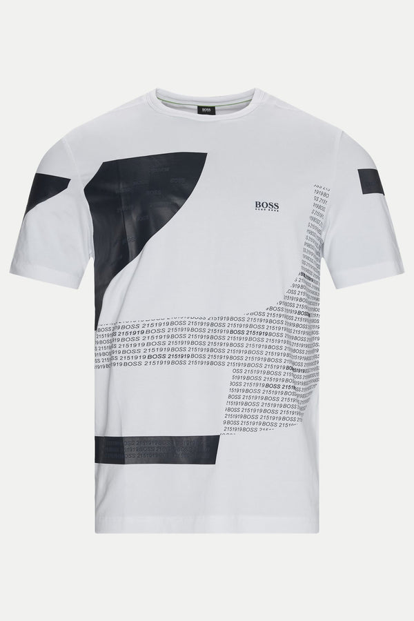 Boss Tee 6 Crew-Neck T-Shirt In Stretch Cotton With Graphic Print