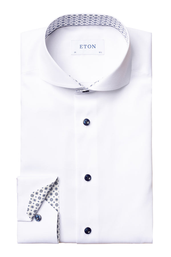 Eton White Twill Shirt With Medallion Details