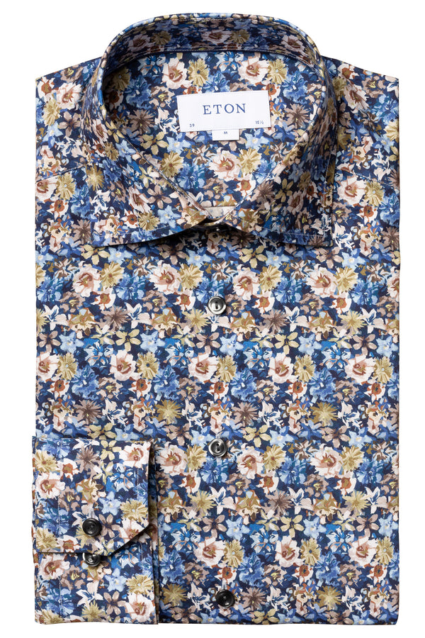 Eton Blue Flower Twill Shirt