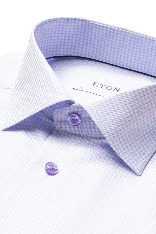 Eton Purple Check Fine Twill Shirt
