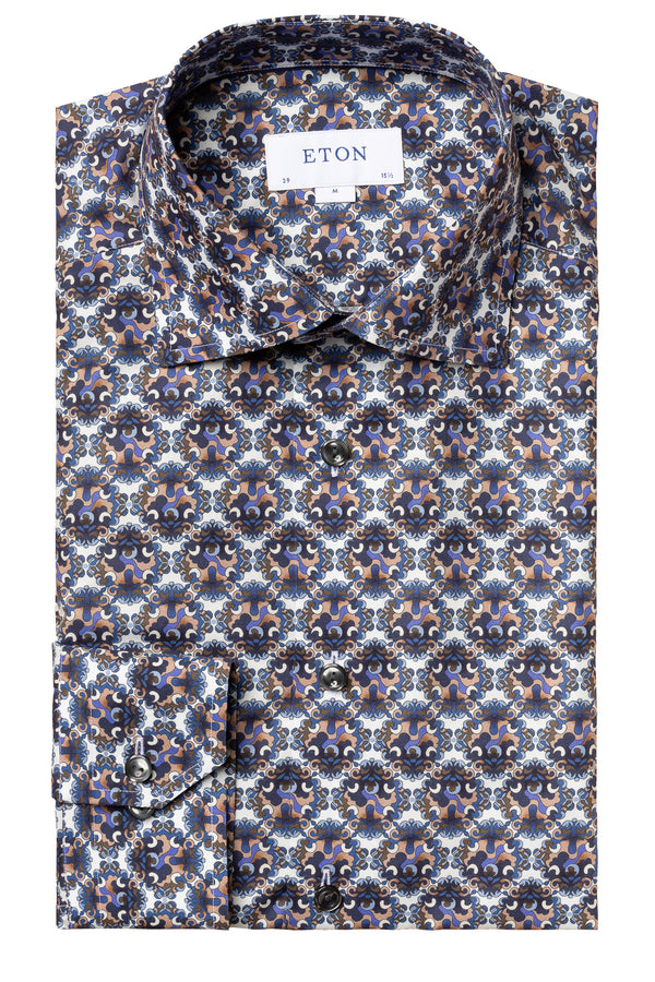 Eton Blue & Purple Bold Medallion Print Shirt