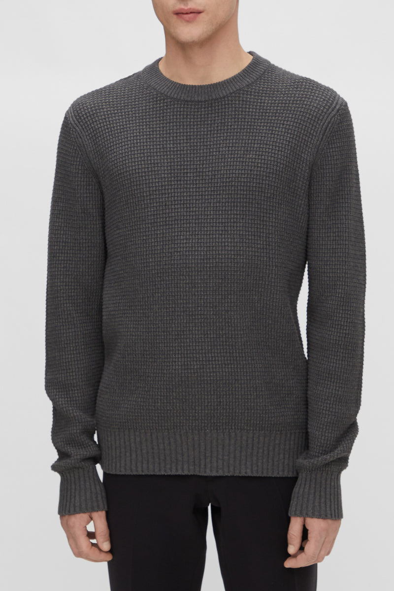 J. Lindeberg Oliver Structure Sweater in Dark Grey Melange