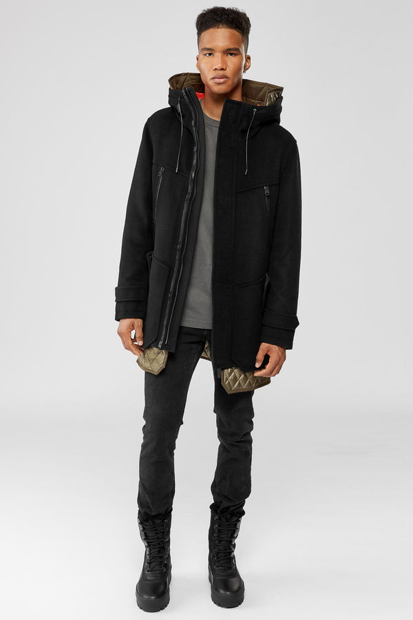 Mackage Ares Hooded Wool-Cashmere Coat With Down Lining