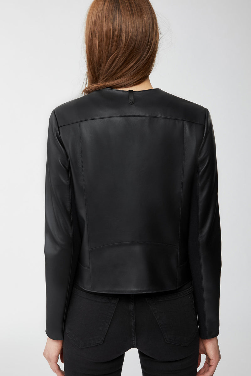 Mackage Cali Leather Jacket With Waterfall Collar