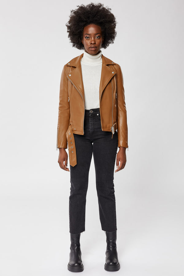 Mackage Kylie Leather Moto Jacket With Removable Belt