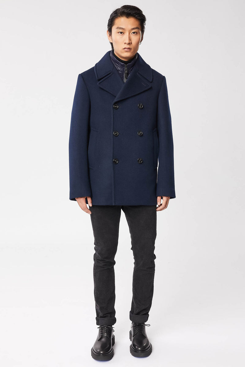 Mackage Noah Double-Breasted Wool Peacoat With Removable Vest