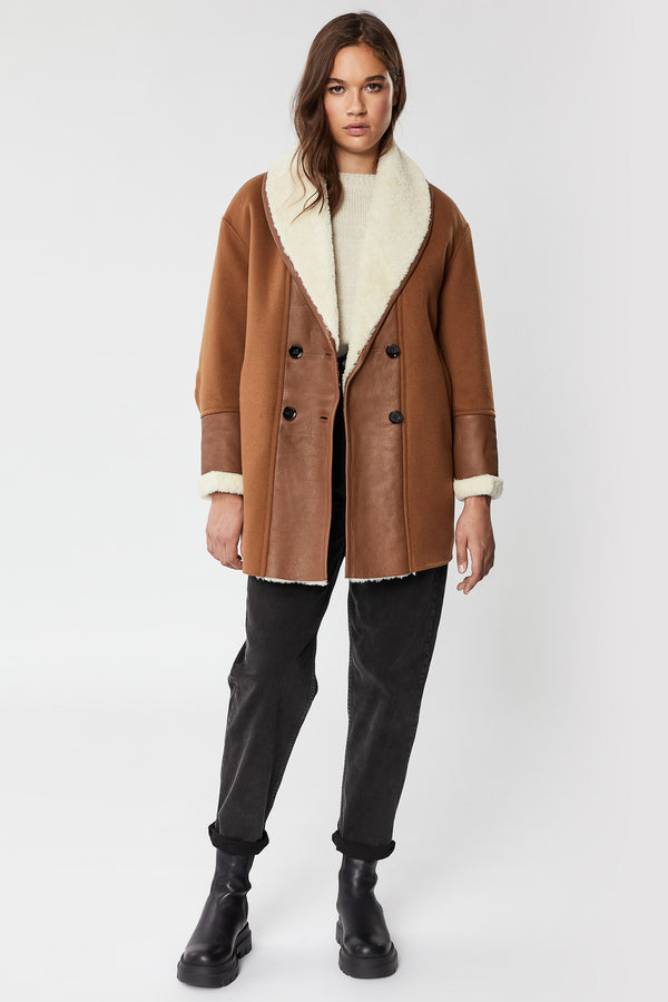 Mackage Stacey Double-Breasted Wool Coat With Sheepskin Shawl Collar