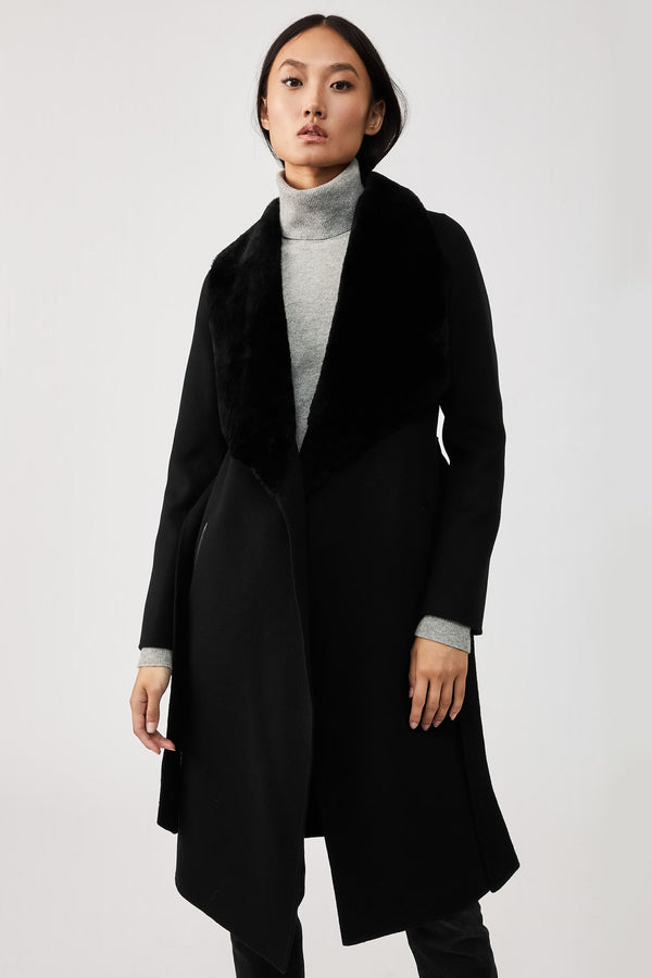 Mackage Sybil Double-Face Wool Coat With Sheepskin Winged Collar