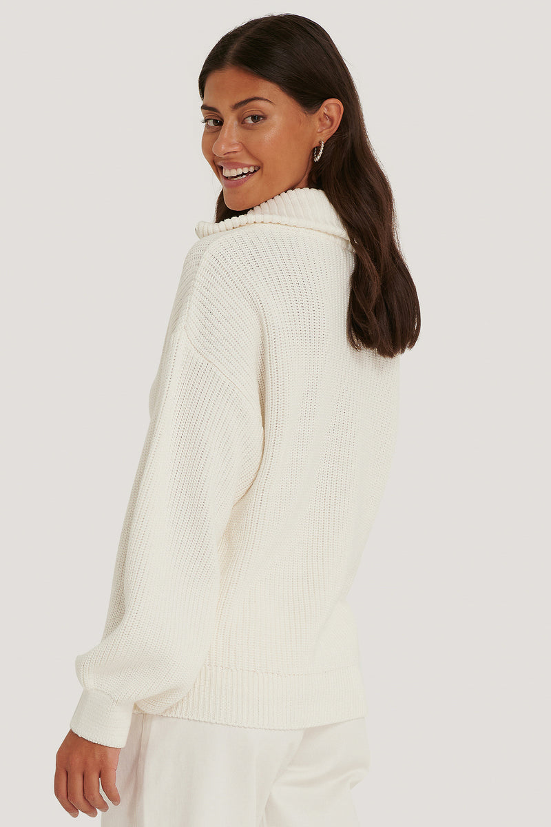 NA-KD Half-Zip Up Sweater