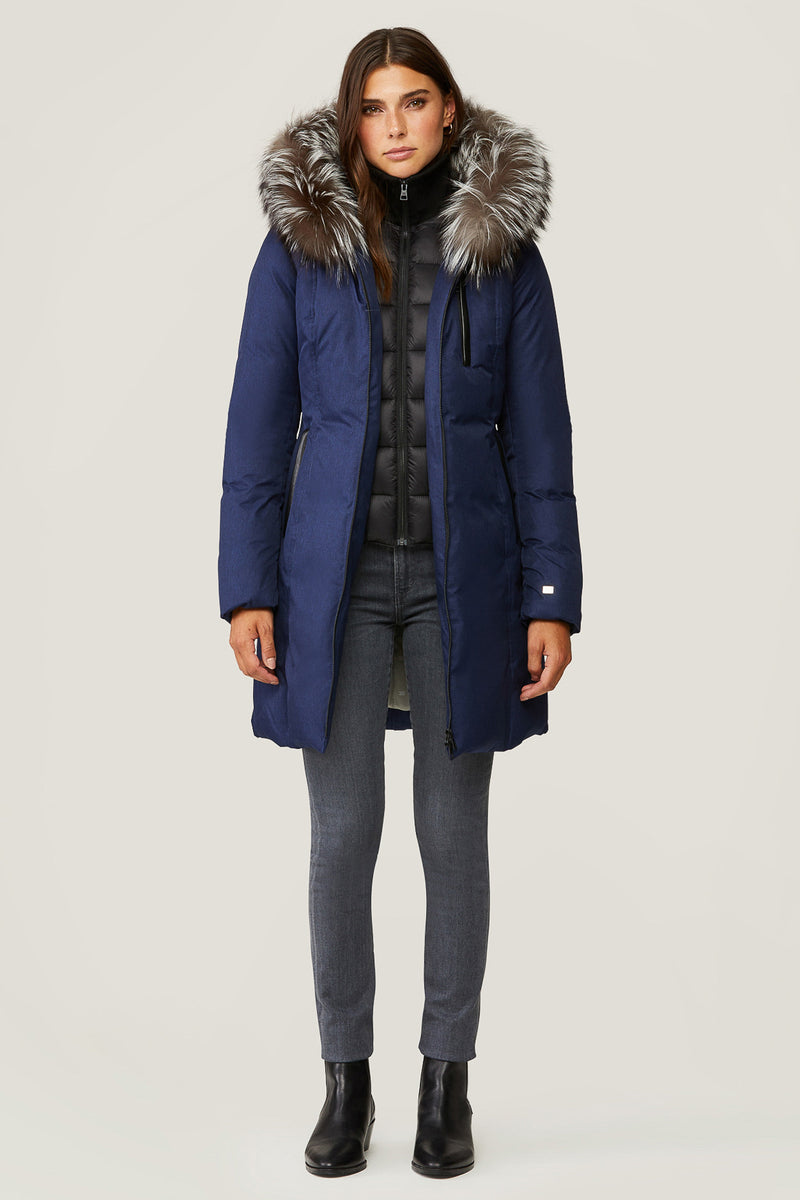 Soia & Kyo Christy Slim-Fit Ladies Down Coat with Fox Fur