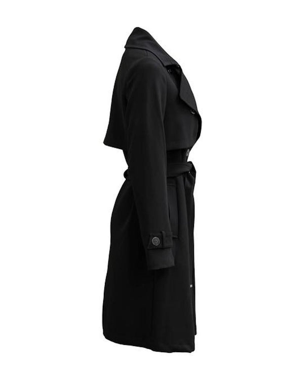 Soia & Kyo Antonina Knee-Length Double-Breasted Coat in Black