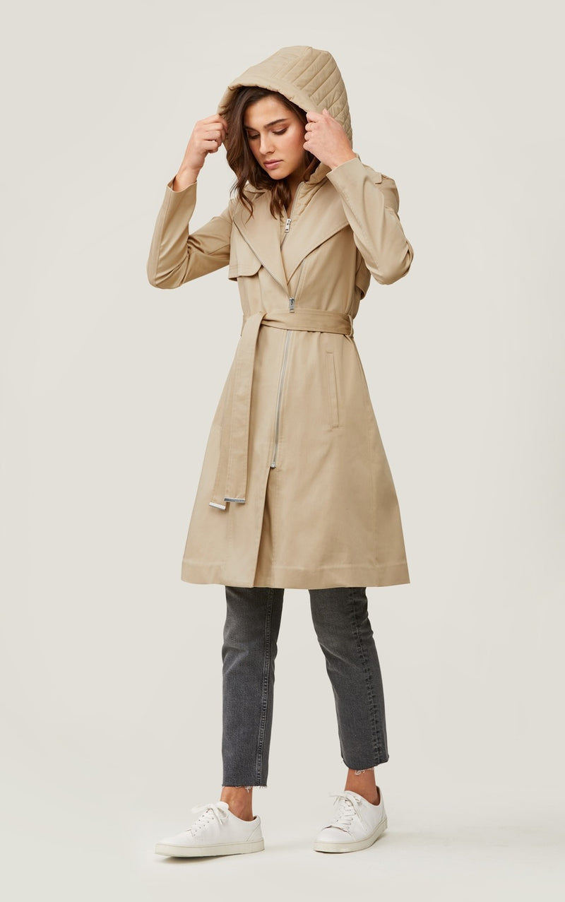 Soia & Kyo Athie Trench Coat With Removable Hood And Bib in Almond