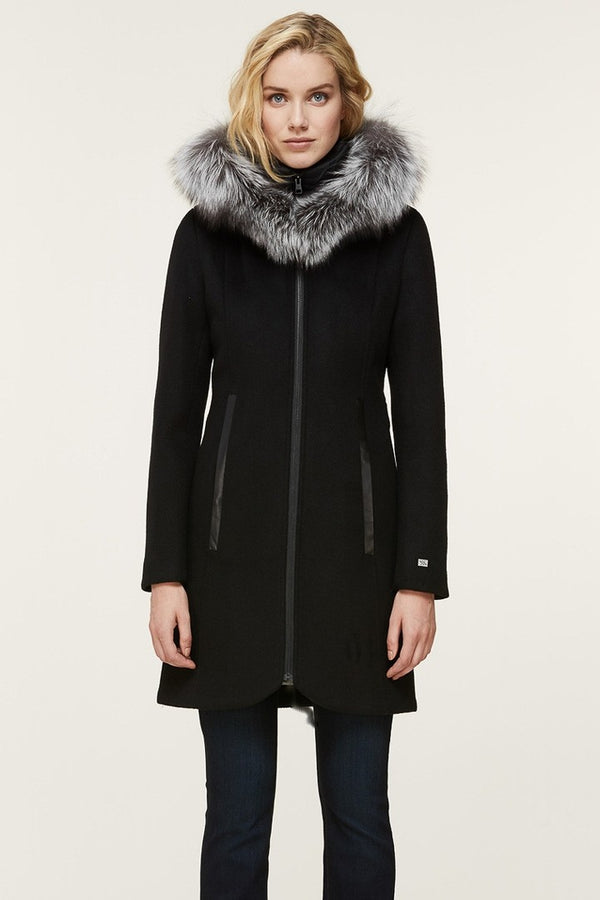 Soia & Kyo Charlena-XN Slim-Fit Wool Coat in Black