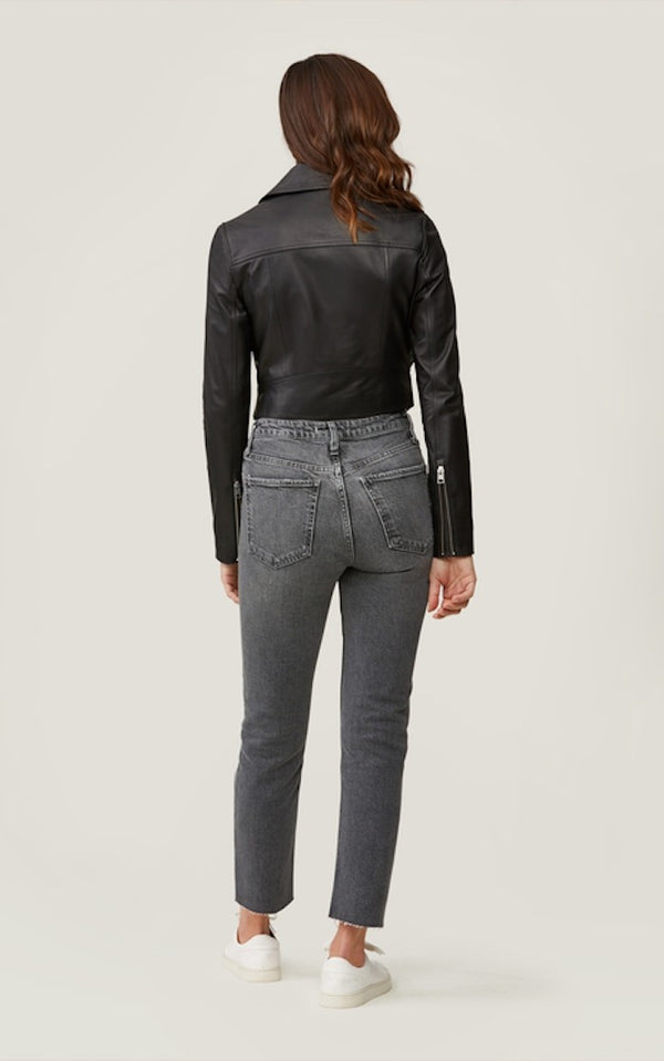 Soia & Kyo Clodia Cropped Leather Moto Jacket in Black