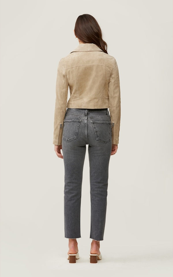 Soia & Kyo Elaine Cropped Suede Jacket in Almond