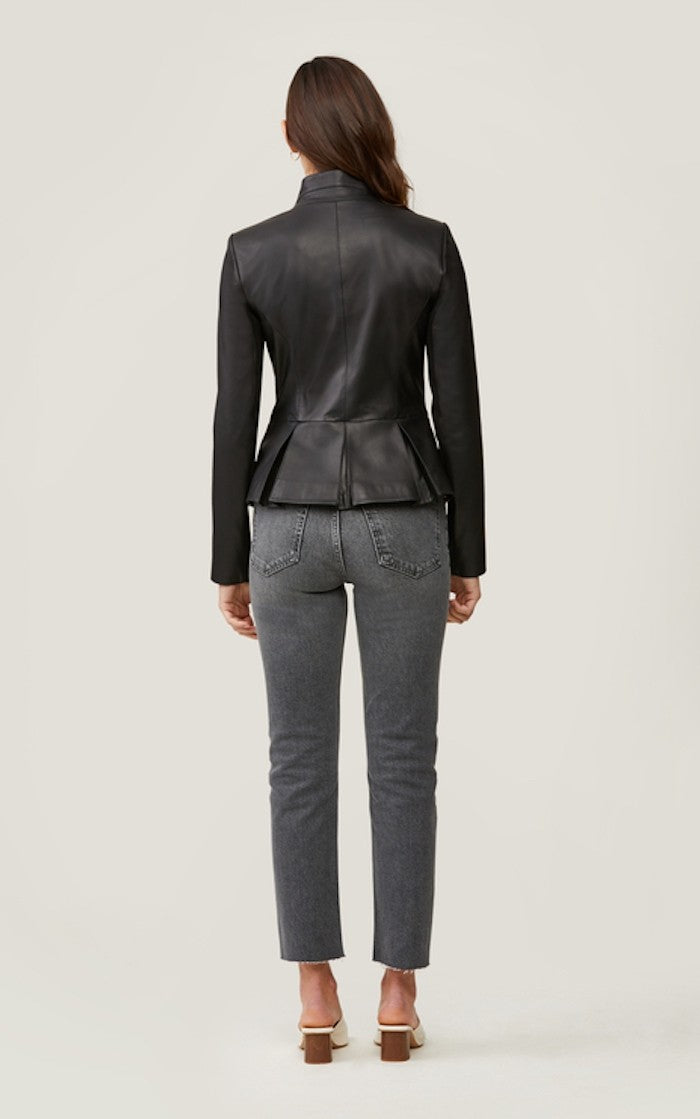 Soia & Kyo Genevieve Slim-Fit Leather Jacket in Black