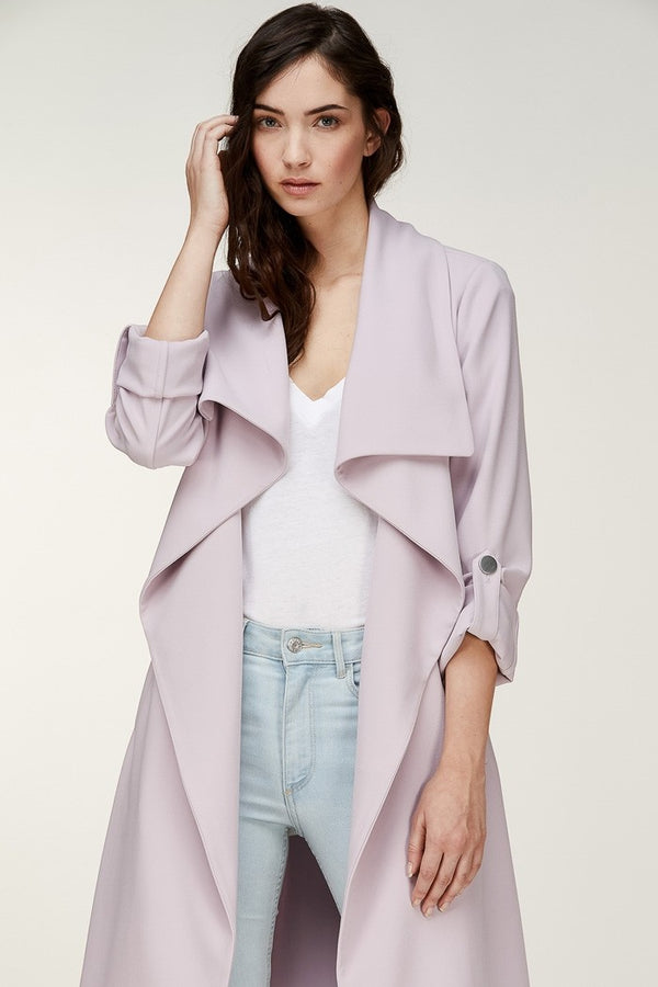 Soia & Kyo Ornella Knee Length Coat With Cascade Collar in Lavender