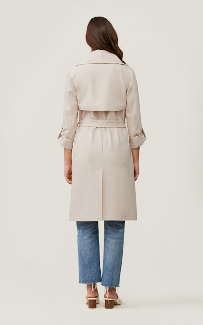 Soia & Kyo Ornella Knee Length Coat With Cascade Collar in Pearl