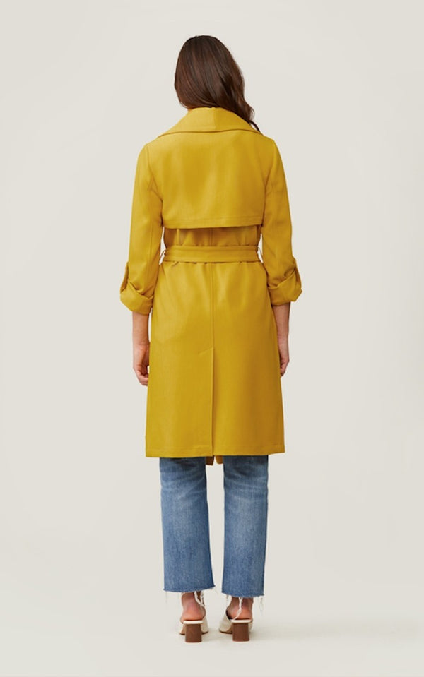 Soia & Kyo Ornella Knee Length Coat With Cascade Collar in Sunflower