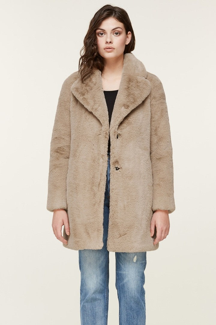 Soia & Kyo Renada Mid-Length Faux Fur Coat in Honey
