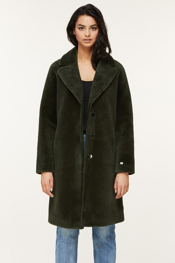 Soia & Kyo Rubina Relaxed Fit Embossed Wool Jacket in Matcha