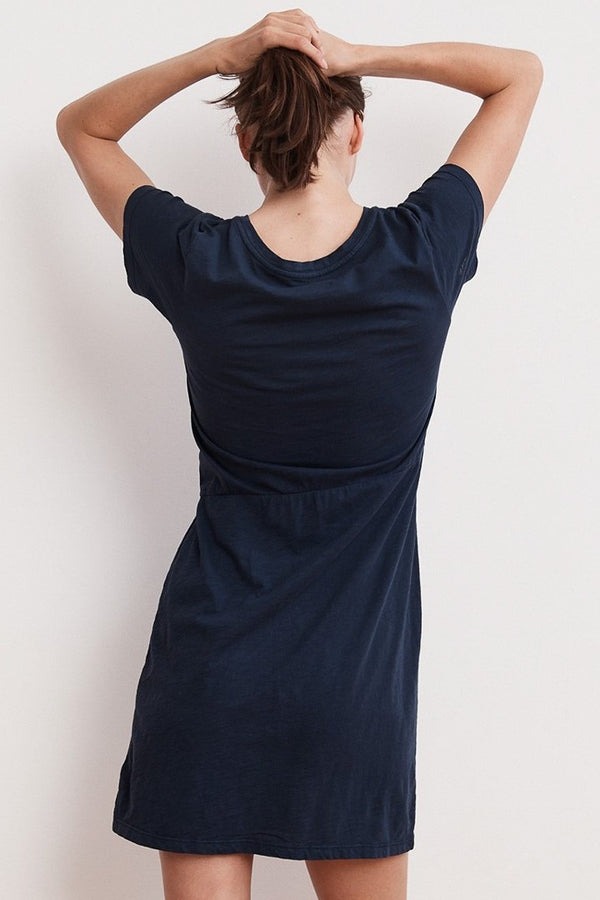 Velvet Briar Cotton Slub Knot T-Shirt Dress in Lagoon