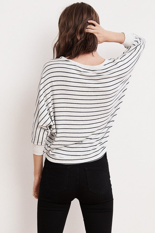 Velvet Candida Ribbed Stripe Dolman Top in Ash