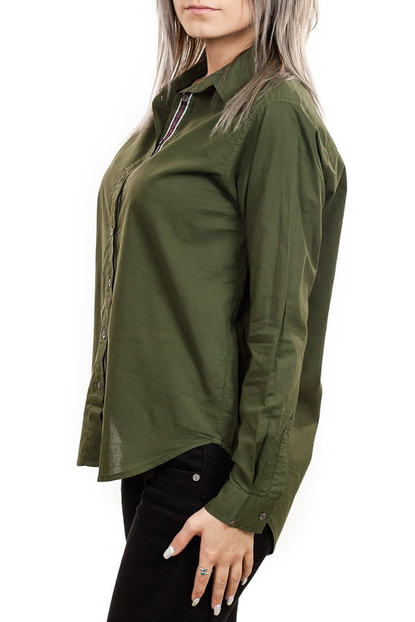 Velvet Candra Cotton Button Up Top in Army