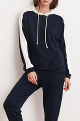 Velvet Carlita Luxe Fleece Hoodie in Night / Coconut